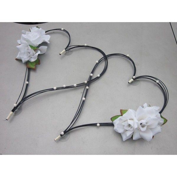 D coration voiture pour mariage type c urs noir avec perles et roses clatante d coration - Decoration voiture mariage ventouse ...