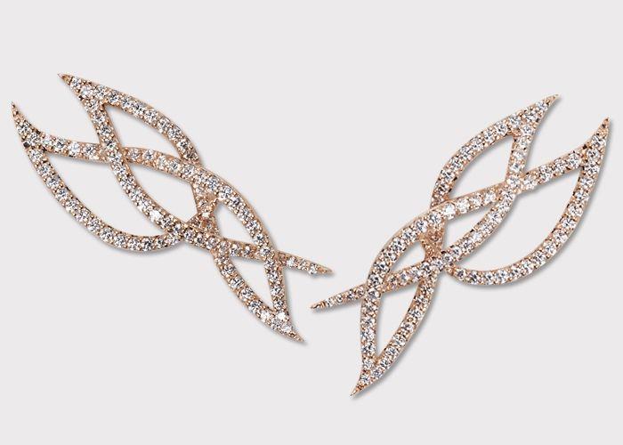 Intertwined Diamond 18K Rose gold Earrings by KAVANT SHARART by
