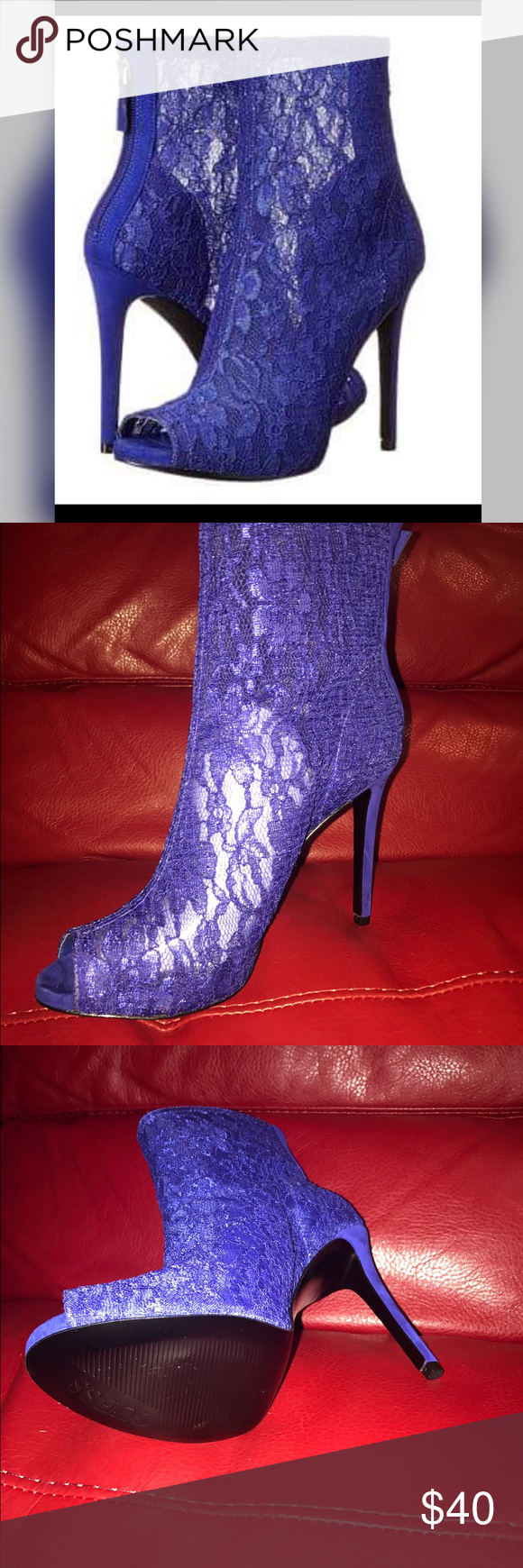 Guess Blue Lace Ankle Boot Heel Sexy Lace Ankle Blue Heels ---Size 10 BRAND NEW ---NWOT---Zipper in back, comes with box---sexy and chic 👠👠 Guess Shoes Heeled Boots