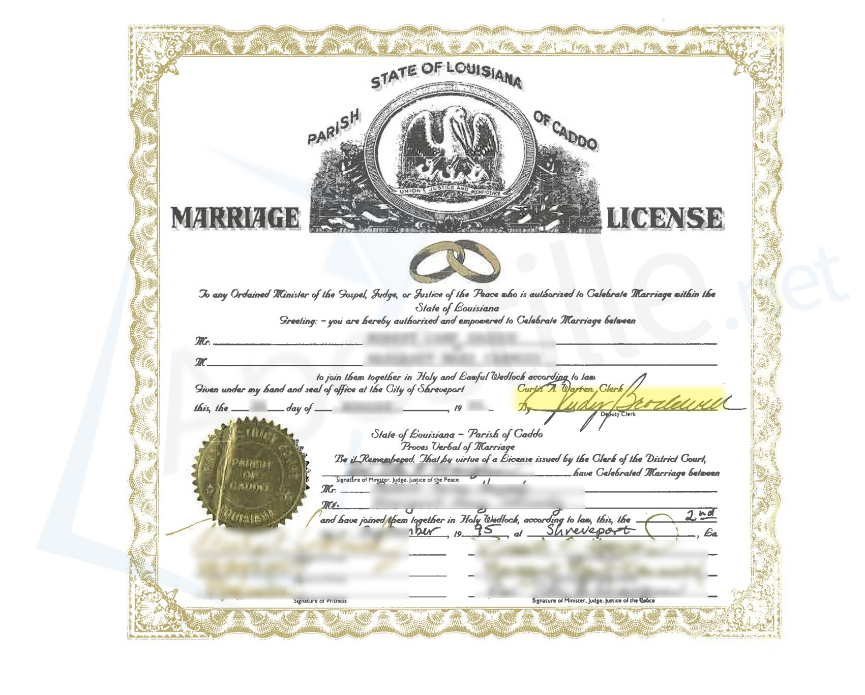 Parish of caddo state of louisiana marriage license issued by the parish of caddo state of louisiana marriage license issued by the clerk of the district court xflitez Images