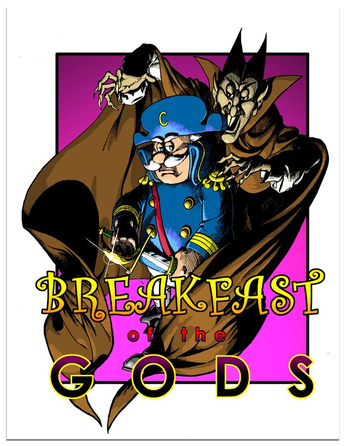 Breakfast of the Gods Webcomic about breakfast cereal characters. Promo pic.