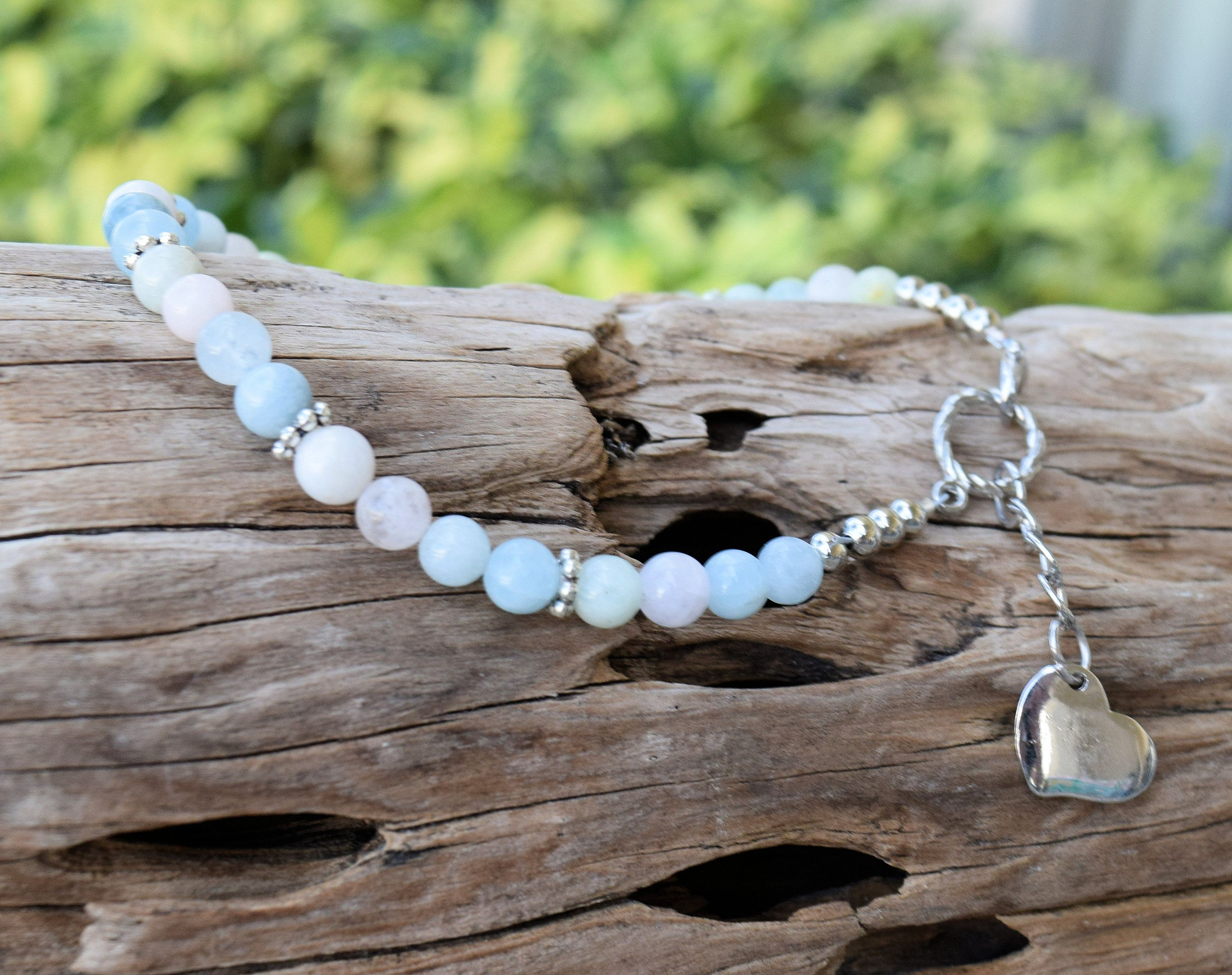 Beaded Necklace Crystal Healing Necklace Rose Quartz Sterling Silver Necklace Women/'s Necklace Modern Hippie Unconditional Love Jewelry