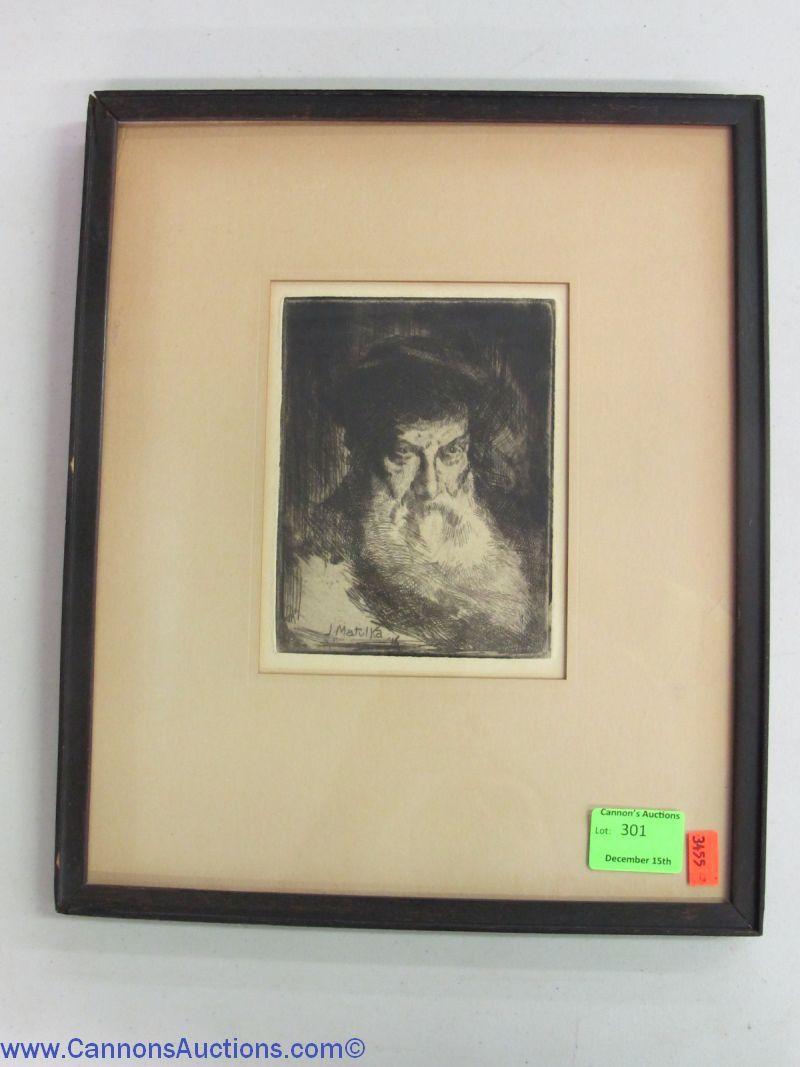 """Jan Matulka etching; frame measures 13.5 x 11.5"""". Bids close Thurs, 15 Dec from 11am ET."""