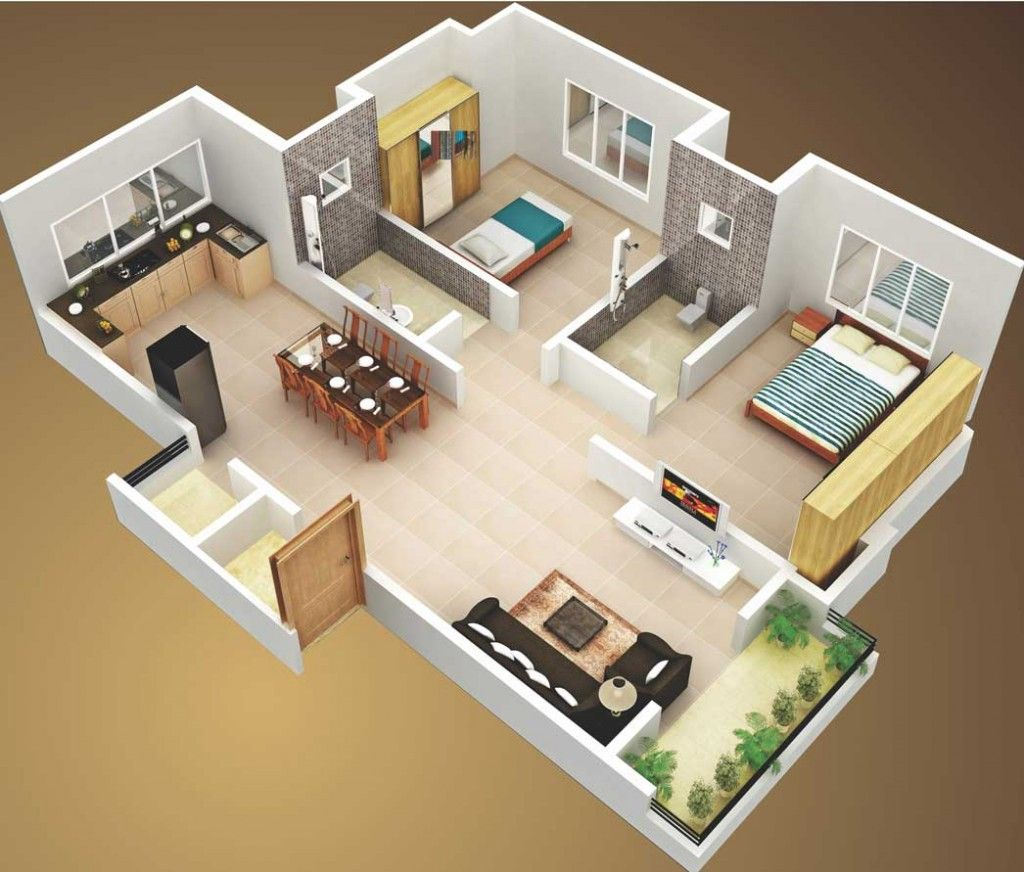 3d small house plans 800 sq ft 2 bedroom and terrace 2015 for Two bedroom house plans