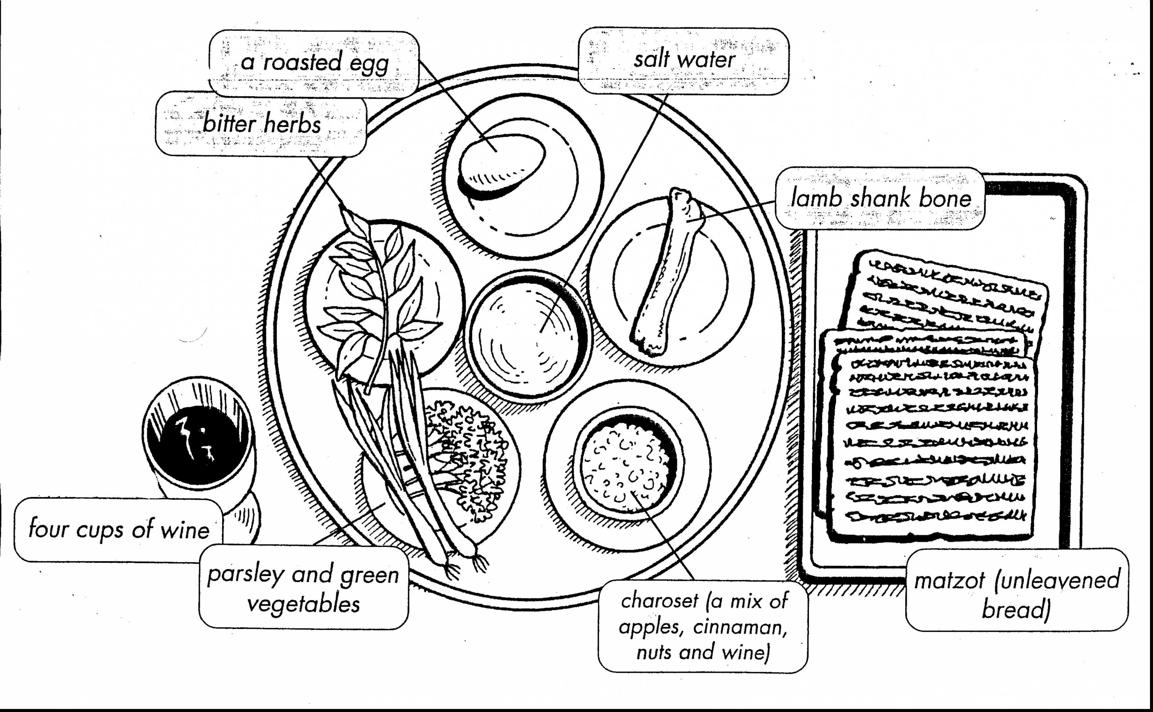 incredible passover seder plate coloring page with