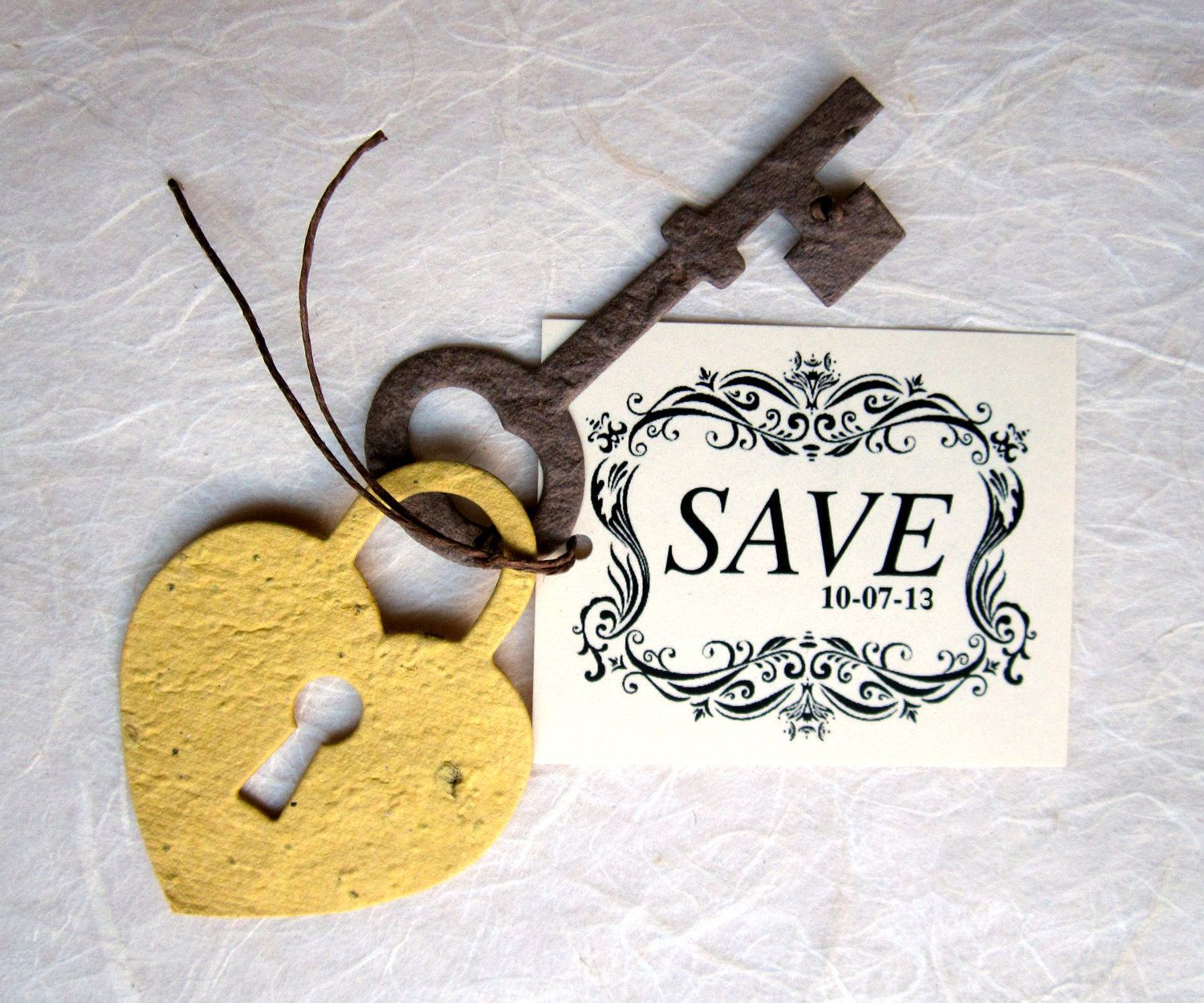 50+ Plantable Save the Date Cards - Flower Seed Lock and Key Save ...