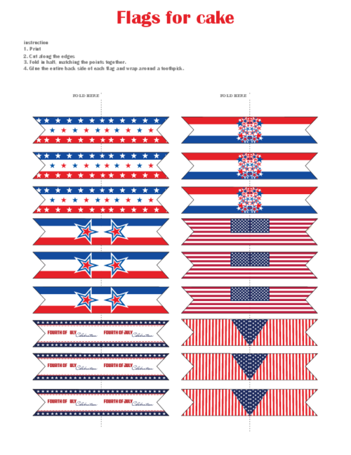 photo relating to Printable Usa Flag named United states of america Bash Mini Flags for Cakes and Decoration Printables