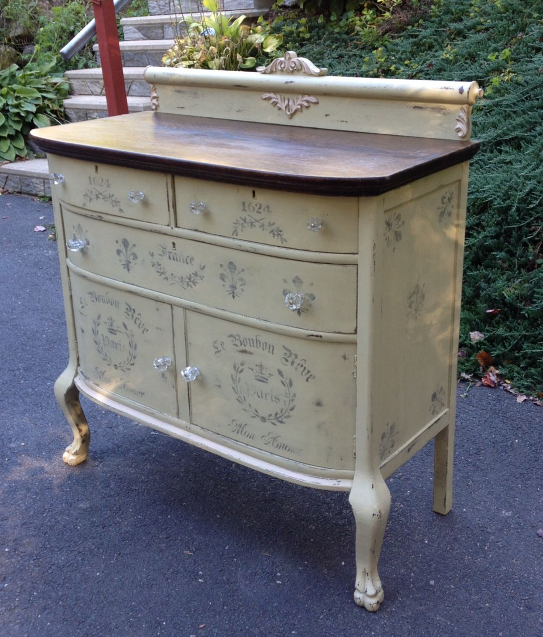 Hand Painted Buffet | Vintage Distressed Hand Painted Sideboard With  Stencils
