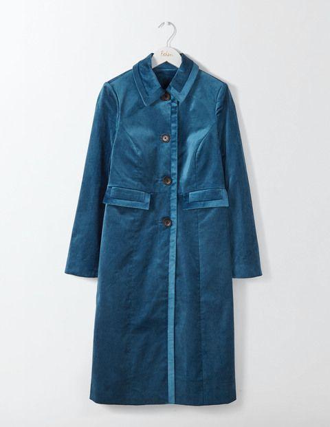 Manteau velours femme bleu canard