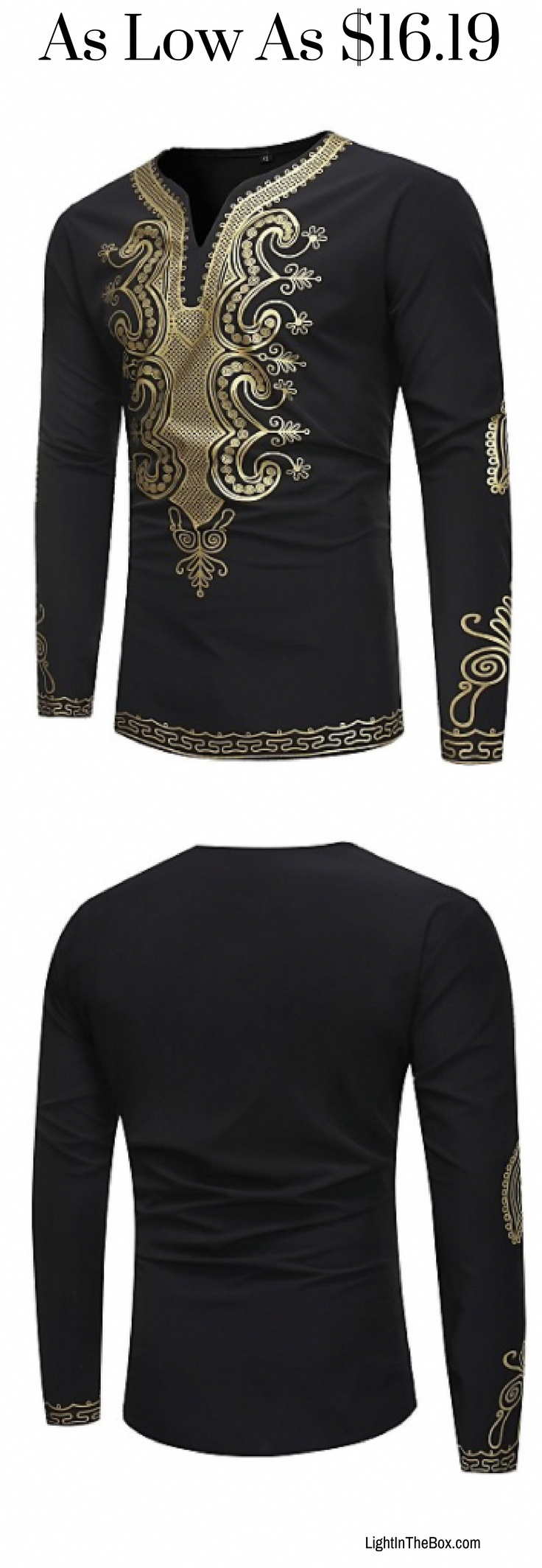 5e0d94aab31 Spring is the right time to wear long sleeve T-shirts. Check out this gold  print black men T-shirt at just €12.80. Click to shop. #mensoutfits