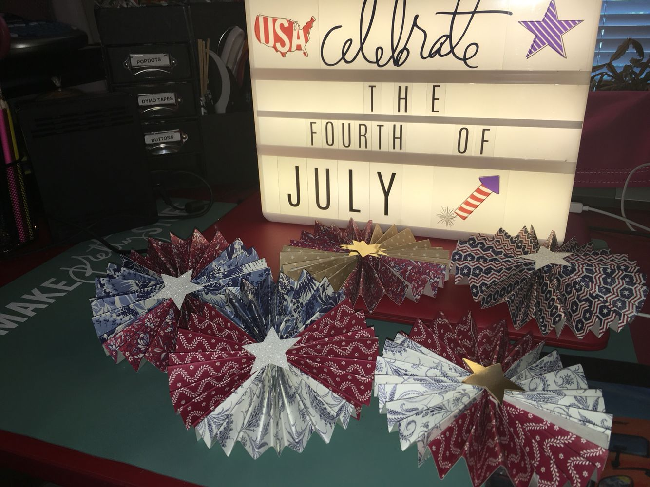 Just in time for July 4th! Love my new Heidi Swapp lightbox! Fun inspiration! Makes really cute vignettes along with other scrapbook paper.
