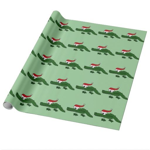 Cute Alligator Wearing Christmas Hat Wrapping Paper #Christmas