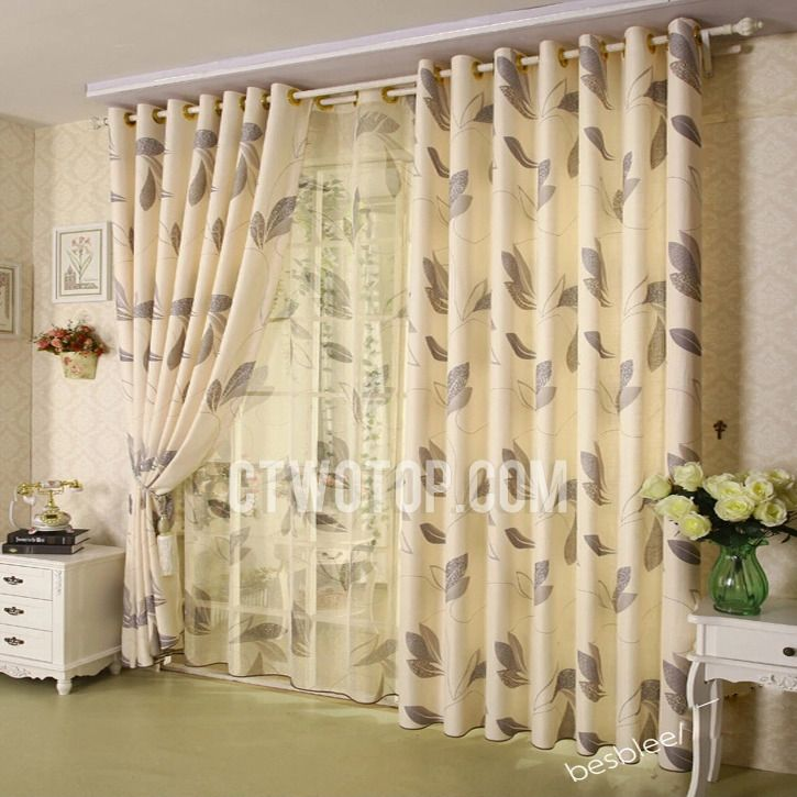 Living Room Curtain Designs Extraordinary Casual Leaf Print Living Room Curtains Designs  Decorating Inspiration