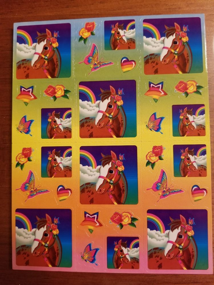 Vintage Lisa Frank Sticker Sheet S247 Horses ad (With