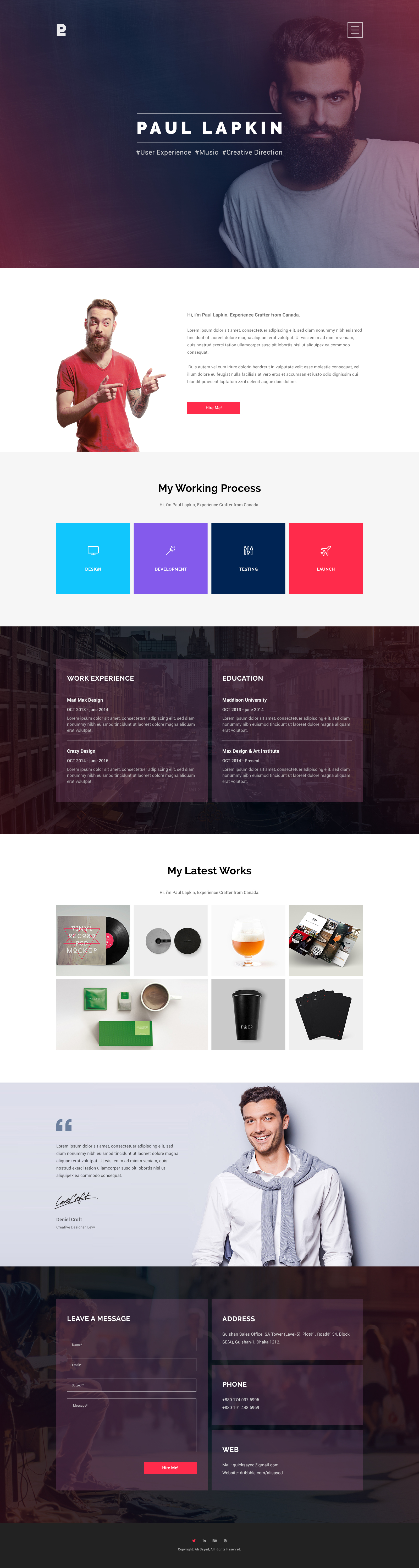 Personal Site  Free Psd On Behance  Template
