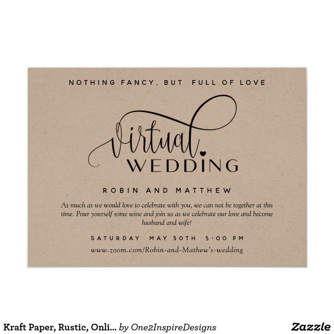 Kraft Paper Rustic Online Virtual Wedding Invitation Zazzle Com In 2020 Wedding Invitations Digital Weddings Invitations