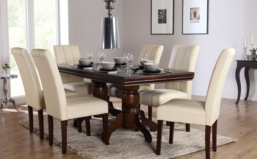 The Chatsworth U0026 Carrick Dark Wood Extending Dining Set (Ivory) At Furniture  Choice
