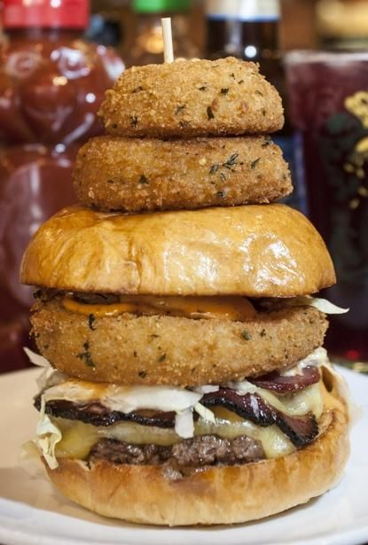 Open Wide The Bareburger Supreme Layers Bacon Colby Cheese And Onion Rings Burger Food Hot Dog Recipes