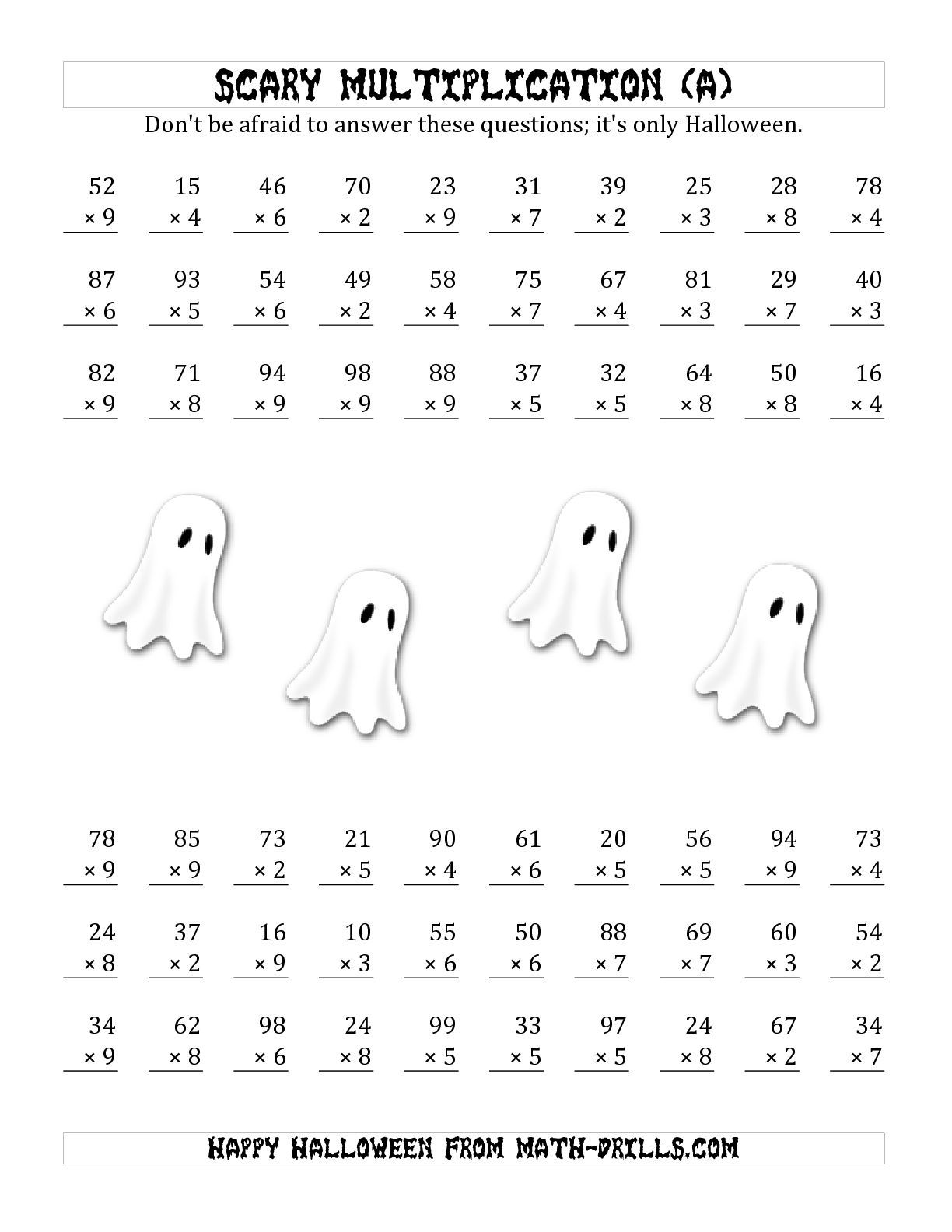 the scary multiplication 2 digit by 1 digit all math worksheet from the halloween math. Black Bedroom Furniture Sets. Home Design Ideas