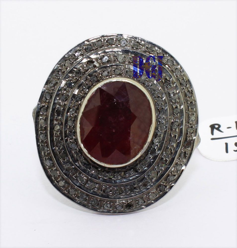 Diamondantiquesilverring victorian rose cut diamond sterling