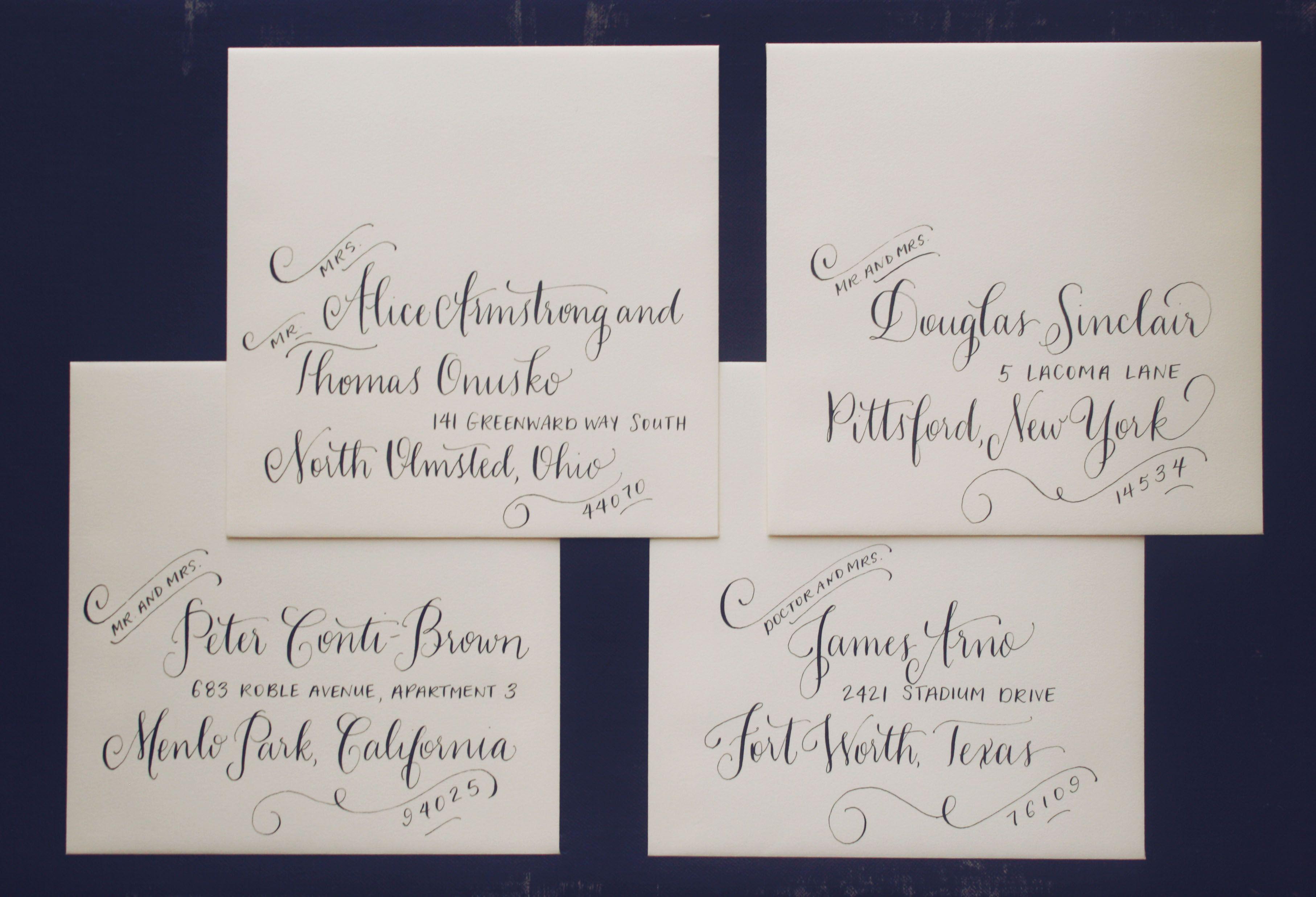 Whimsical And Flourished Wedding Calligraphy