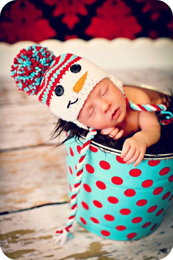 Newborn baby photo prop snowman van mitziknitz op etsy