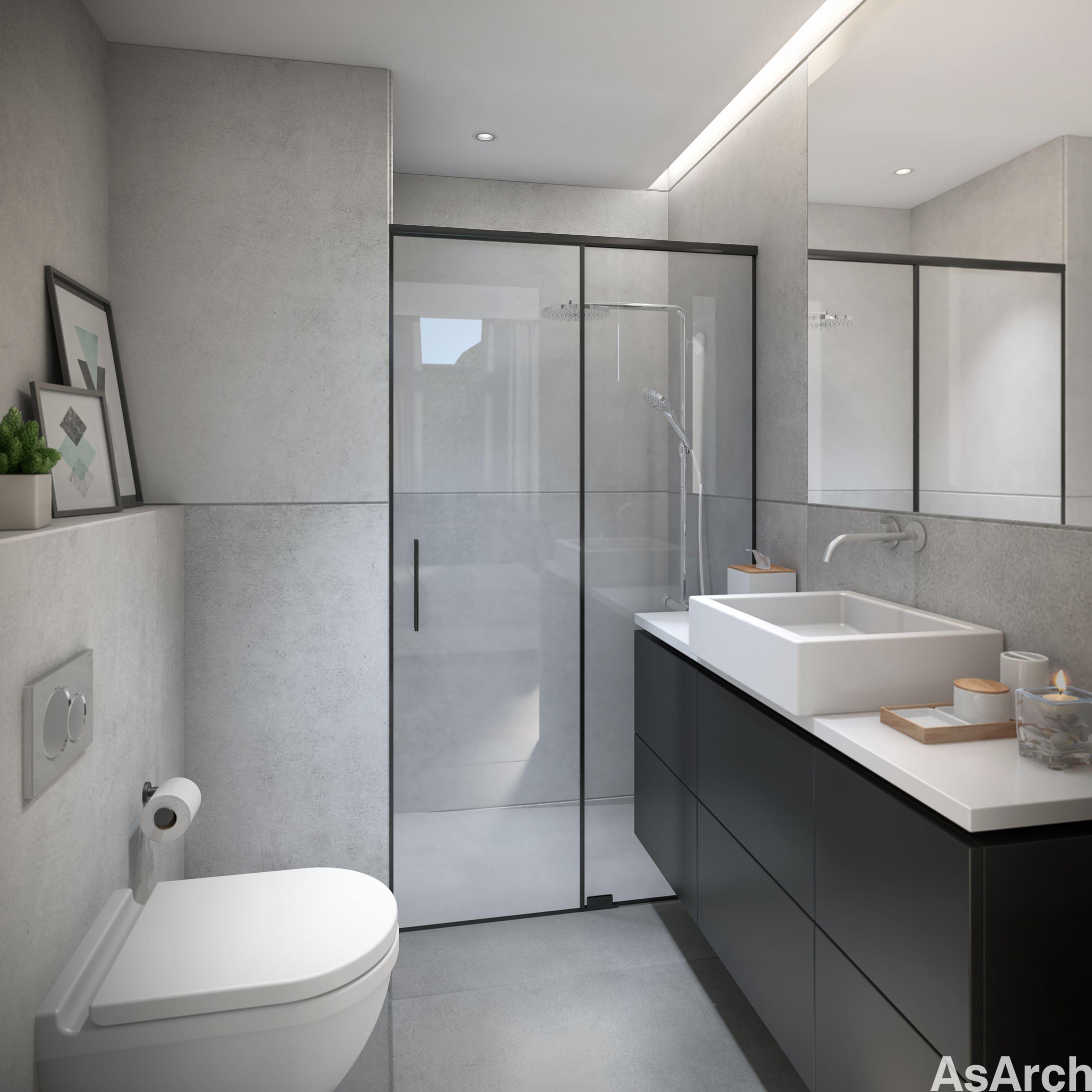 Interior Render of an Scandinavian Bathroom, designed and rendered