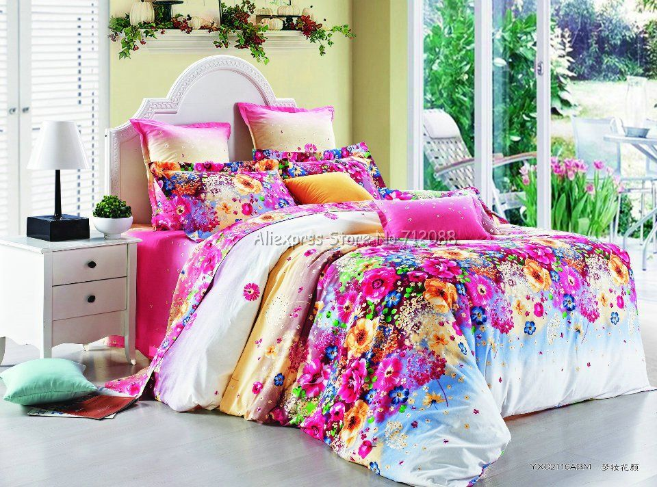 Stylish Colorful Flower Floral Pattern Pink 4pcs Full Queen King Bedding Comforter Quilt Duvet Covers Sets Colorful Bedding Sets Colorful Bedding Bedding Sets