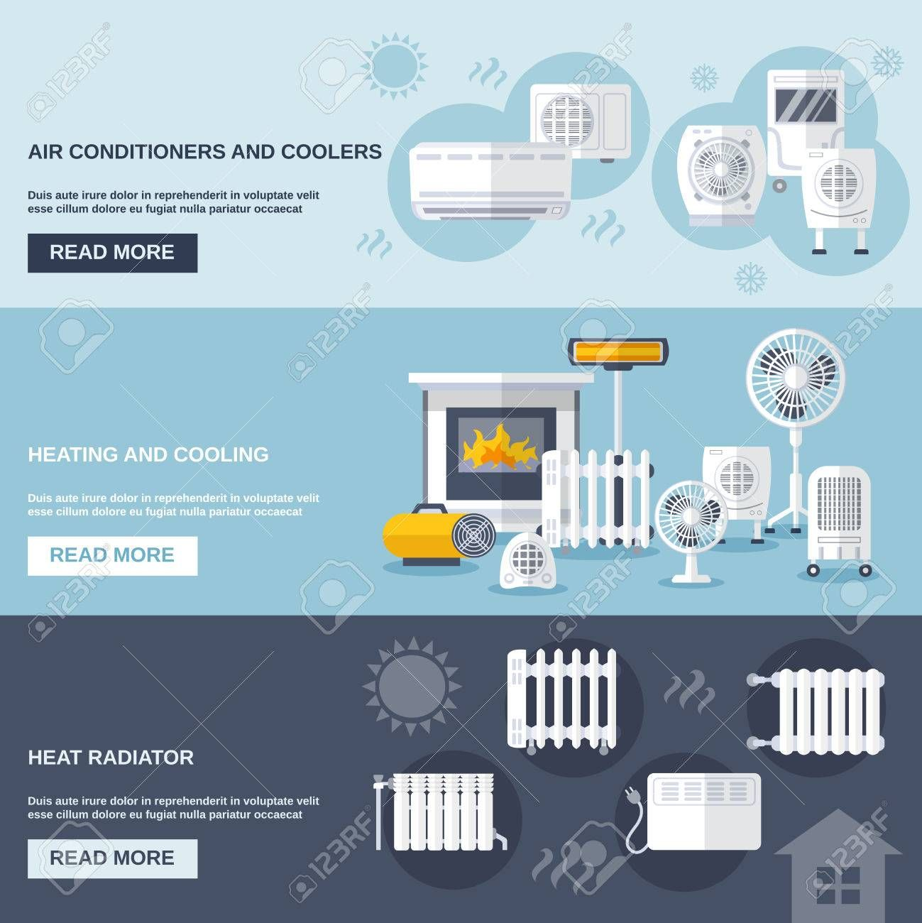 Heating And Cooling Banner Set With Conditioner Flat Elements