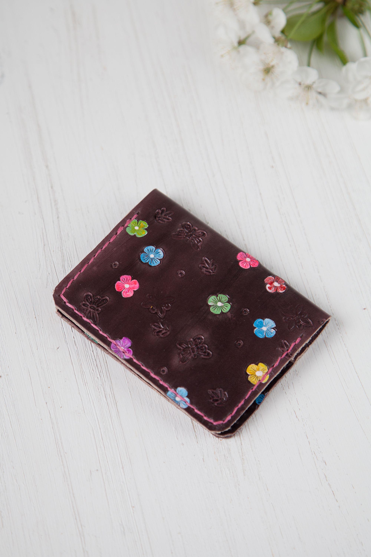 Womens Pocket Wallet Business Card Case Women Minimalist Etsy Credit Card Holder Pattern Leather Credit Card Holder Business Card Case
