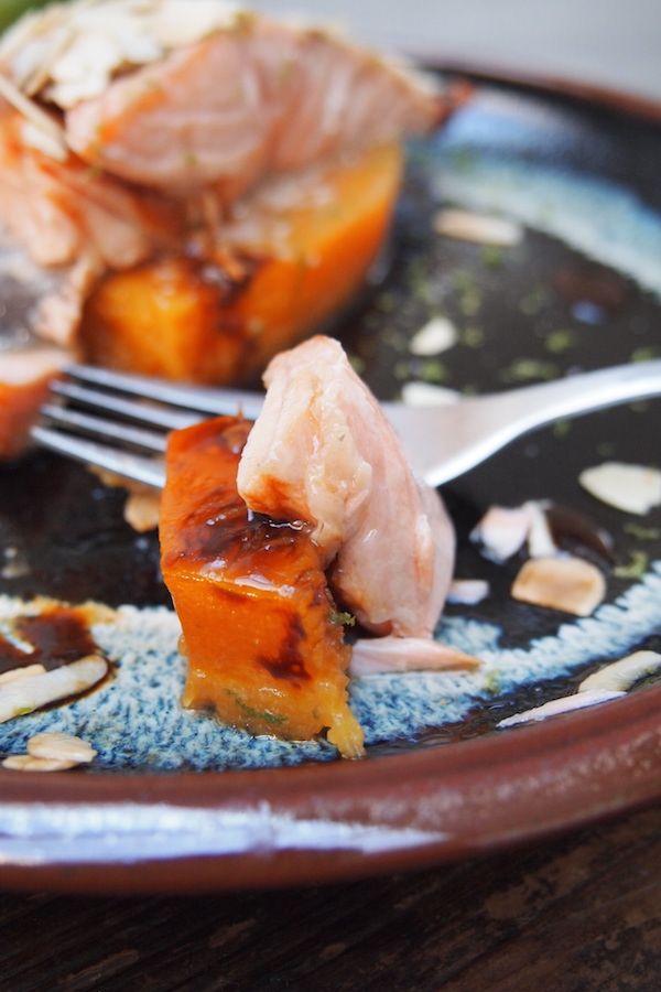 saumon laqu et potiron confit concours inside paris dans ma cuisine bistronomie. Black Bedroom Furniture Sets. Home Design Ideas