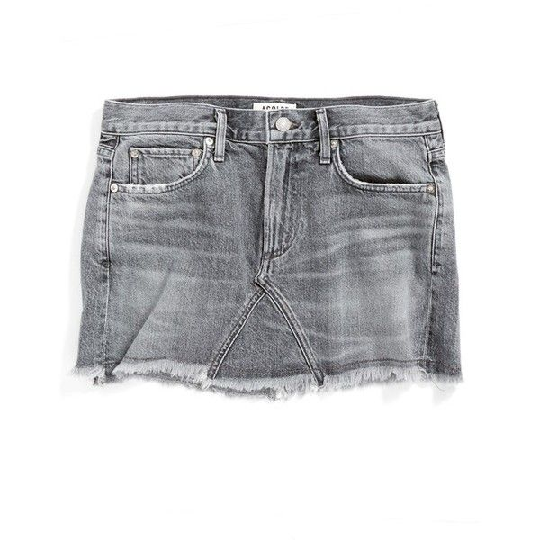 Women's Agolde Jeanette Denim Miniskirt ($128) ❤ liked on Polyvore featuring skirts, mini skirts, east village, mini skirt, short skirts, short denim skirts, denim skirt and short mini skirts