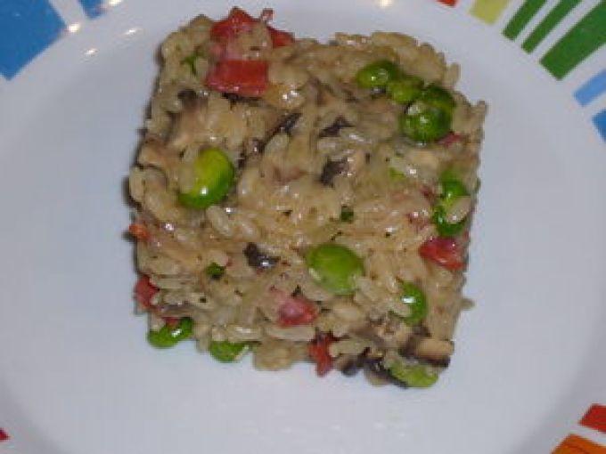Risotto aux fèves, champignons et chorizo (7 points)