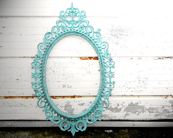 Large Ornate Oval Picture Frame - Shabby Chic Turquoise Blue Green ...