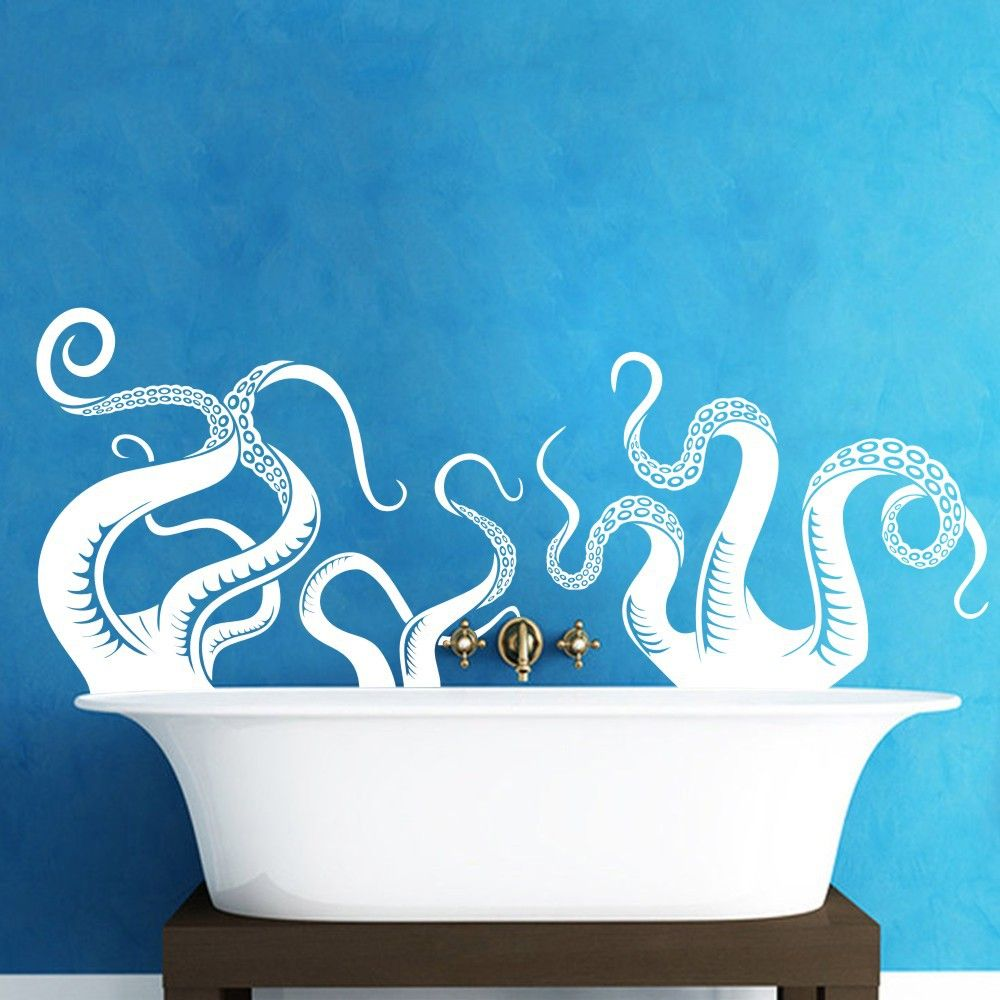Bathroom wall art sea - Large Size Octopus Tentacles Vinyl Wall Art Sea Monster Kraken Squid Bathroom Doorway Shower Bathtub Wall