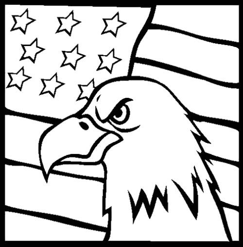 Eagle Flag Coloring Page For Kids Memorial Day Coloring Pages