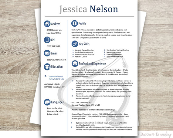 Medical Resume TemplateInstant Download by BusinessBranding - medical resume