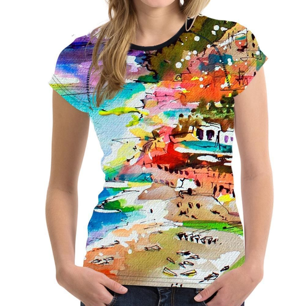 Watercolor Printed T Shirt Ladies Casual Tops Casual Tops For