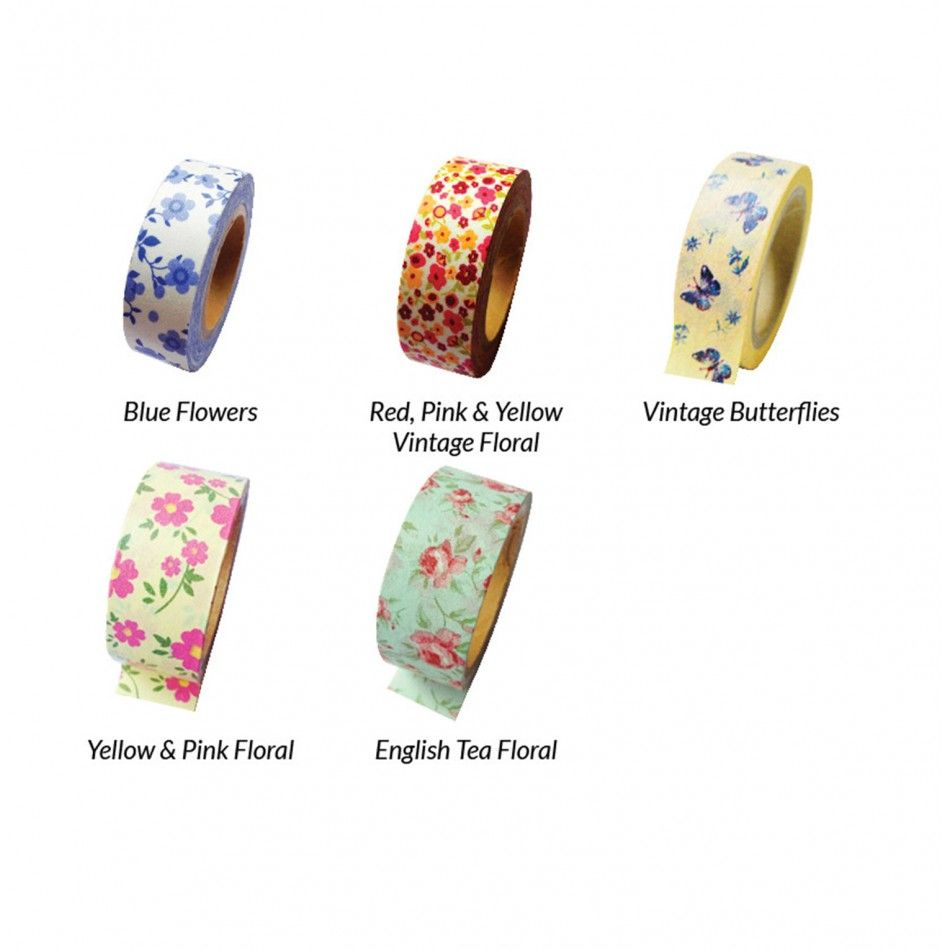 Floral Rose Japanese Paper Washi Tape - Available in 5 Colors ...