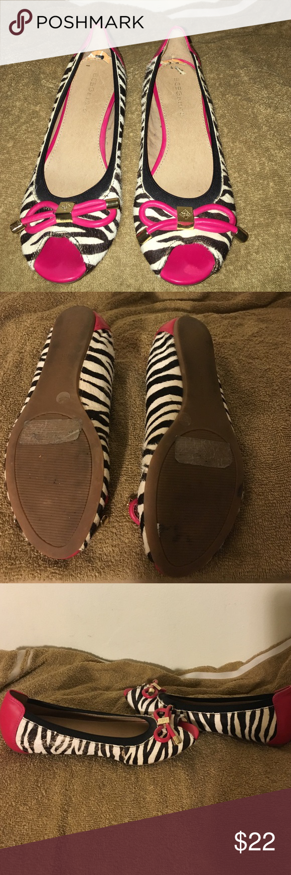 BCBG WORN JUST ONCE These flats are a beauty and rare find, used them just once since I don't have much to go with them and I'm not a pink color girl, great condition and comes from smoke free home BCBG Shoes Flats & Loafers