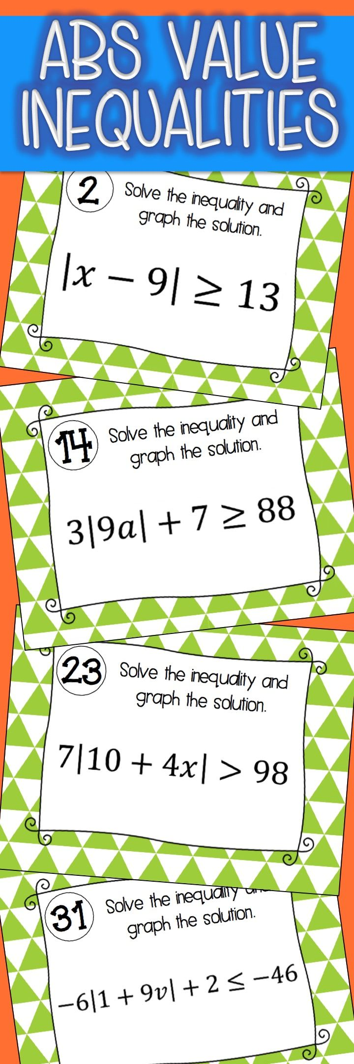 Absolute Value Inequalities Activity Task Cards Absolute Value Inequalities Inequalities Activities Task Cards