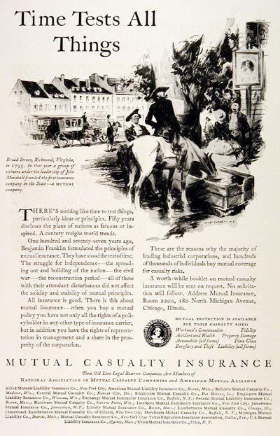 1929 Mutual Casualty Insurance Original Vintage Advertisement