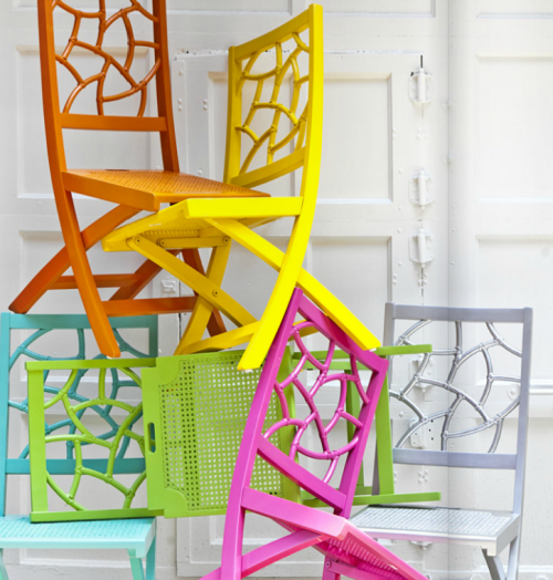 Genial Colorful Fret Back Rattan Folding Chairs