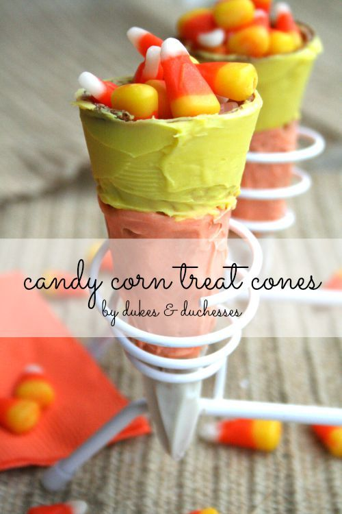 candy corn treat cones for Halloween Perfect Party Ideas - halloween candy treat ideas