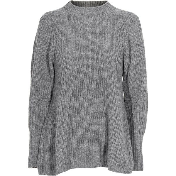 ACNE Dixie Wool Light Grey Ribbed wool sweater (€320) ❤ liked on Polyvore featuring tops, sweaters, shirts, extra long shirts, ribbed sweater, heavy wool sweaters, destroyed sweater and a line shirt