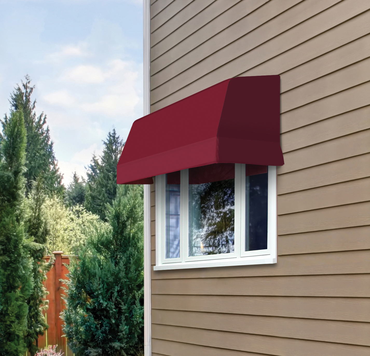 A Series 4700 Casement Window By Nuimage Awnings Suits This Window Perfectly It Is Shown Here With Sunbrella Fabric Fabric Awning Fabric Window Shades Awning