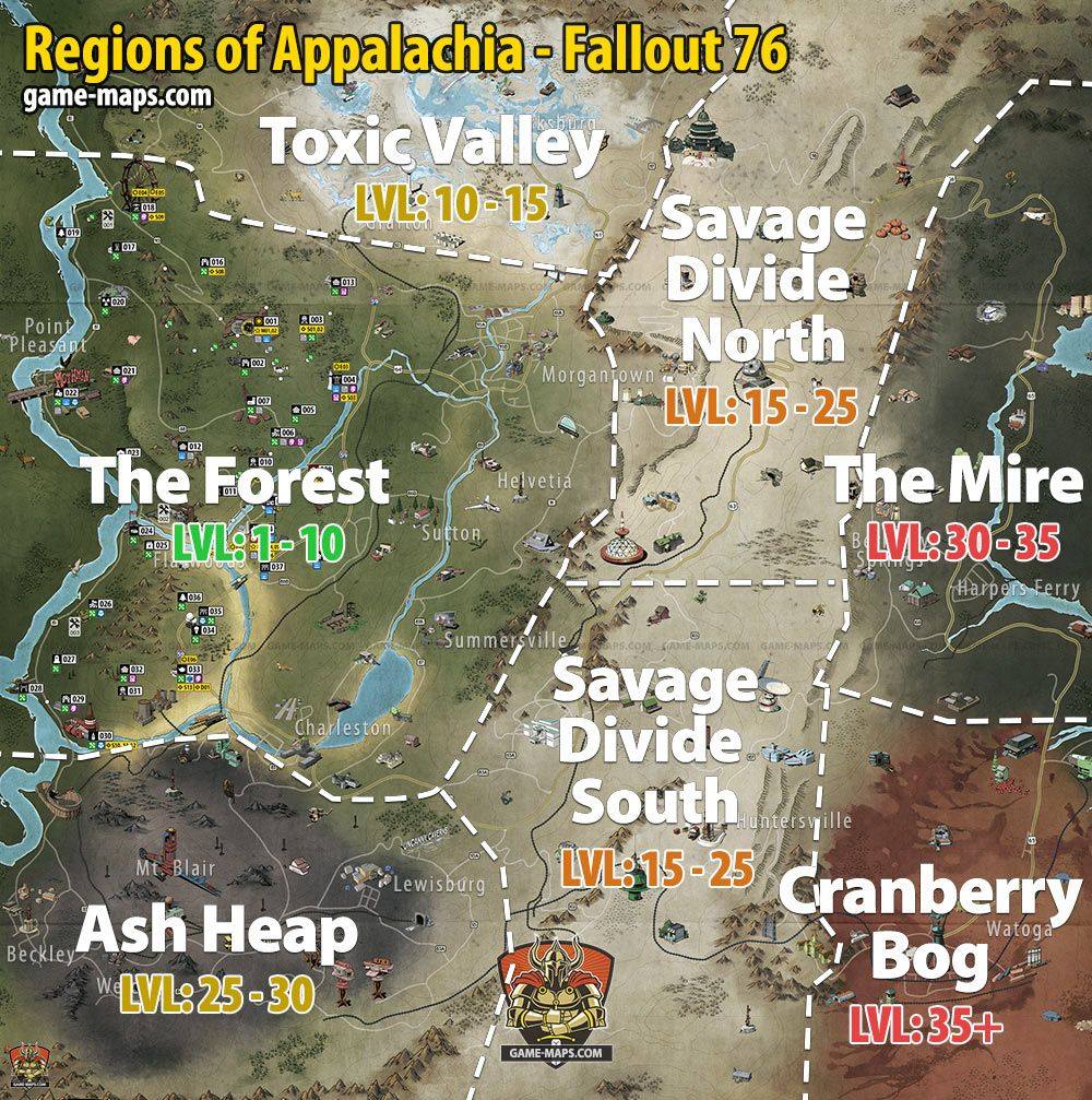 Maps for Fallout 76 Video Game, Walkthrough and Game Guide