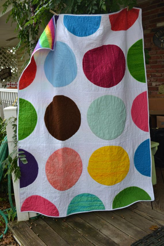 Modern Rainbow Hipster Circles Dots and Spots Quilt