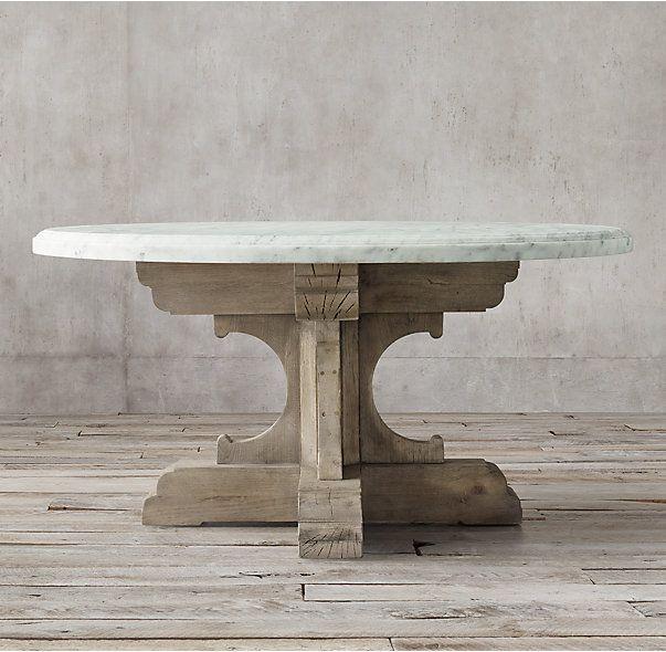 17th C French Bastide Oak Marble Round Dining Table Pernas De Mesa Sofá De Madeira Móveis Deco