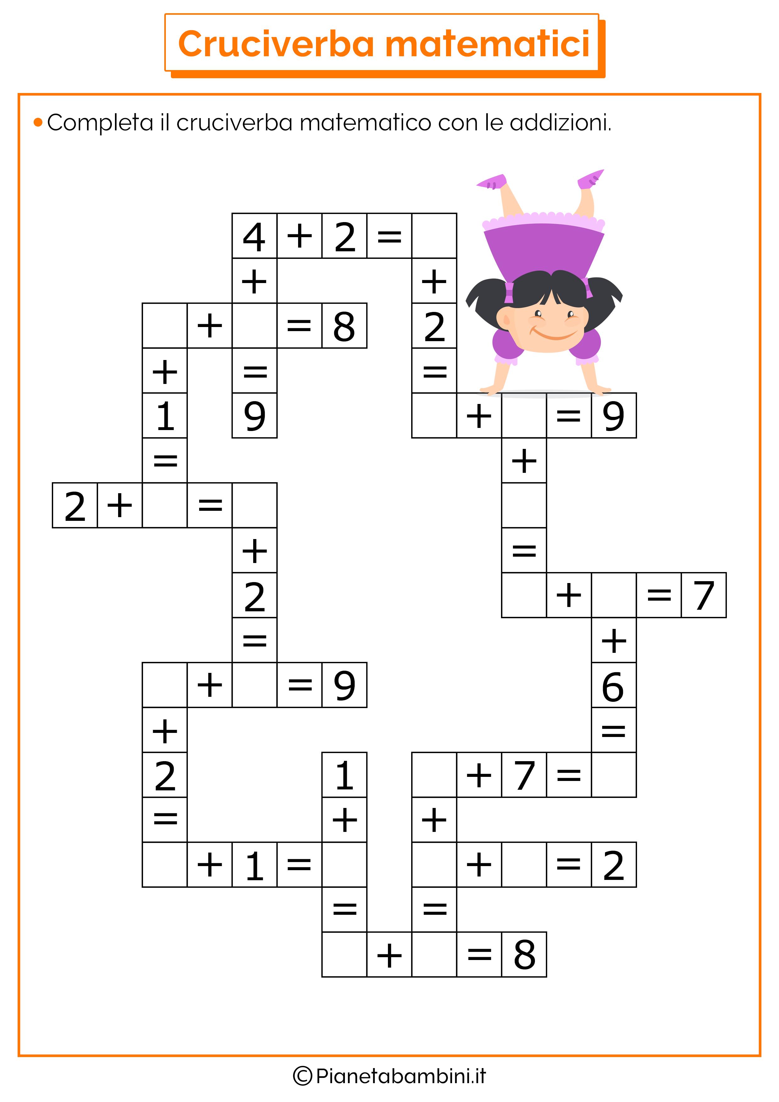 Cruciverba matematici con addizioni e sottrazioni asilo for Cruciverba da stampare